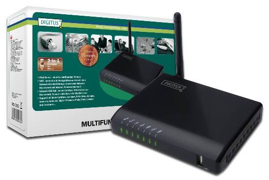 DIGITUS PRINT SERVER DI RETE MULTIFUNZIONE WIRELESS 4 PORTE USB 2.0