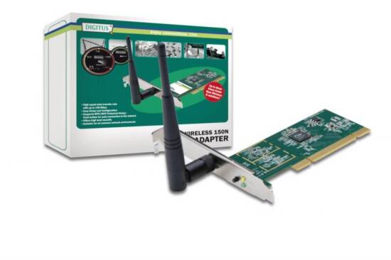 DIGITUS SCHEDA WIRELESS LAN PCI 150 MBPS CON ANTENNE ESTERNE 150N