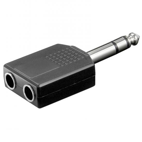 LINK SELECTED ADATTATORE AUDIO CONNETTORE 6,35MM STEREO MASCHIO - 2 x 6,35MM. STEREO FEMMINA