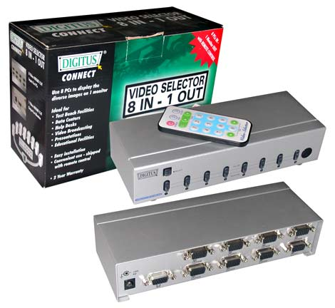 DIGITUS SWITCH SELETTORE VIDEO VGA 15 POLI 8 PC 1 MONITOR CON TELECOMANDO (DS-46100)